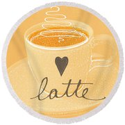 Latte Love In Orange And White Round Beach Towel