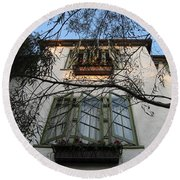 Round Beach Towel featuring the photograph L'auberge Facade by James B Toy