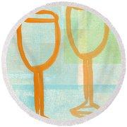 Laugh And Wine Round Beach Towel