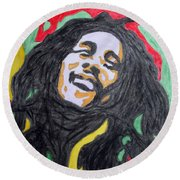 Round Beach Towel featuring the painting Happy Bob Marley  by Stormm Bradshaw