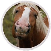 Laughing Smiling Happy Horse Round Beach Towel