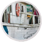 Laughs On A Shrimpboat Round Beach Towel by Patricia Greer