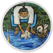 Round Beach Towel featuring the painting Laundry Girl by Xueling Zou