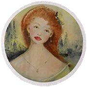 Round Beach Towel featuring the painting Laurel by Laurie L