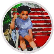 Round Beach Towel featuring the painting Lauren On The Swing by Vannetta Ferguson