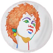 Round Beach Towel featuring the painting Lauryn Hill  by Stormm Bradshaw
