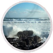 Round Beach Towel featuring the photograph Lava Beach Rocks On 90 Mile Beach by Mark Dodd