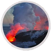 Lava Flow At Sunset In Kalapana Round Beach Towel