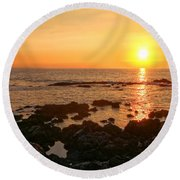 Lava Rock Beach Round Beach Towel
