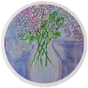 Lavendar  Flowers Round Beach Towel