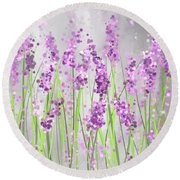 Lavender Blossoms - Lavender Field Painting Round Beach Towel