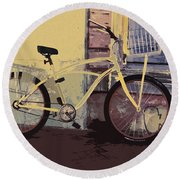 Lavender Door And Yellow Bike Round Beach Towel by Ecinja Art Works