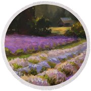 Lavender Farm Landscape Painting - Barn And Field At Sunset Impressionism  Round Beach Towel
