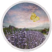 Lavender Field Pink And Blue Sunset And Yellow Butterfly Round Beach Towel by Brooke T Ryan
