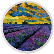 Lavender Fields At Dusk Round Beach Towel by Julie Brugh Riffey