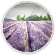 Lavender Fields Tasmania Round Beach Towel