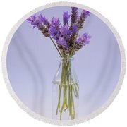 Round Beach Towel featuring the photograph Lavender In Glass Vase by Jocelyn Friis