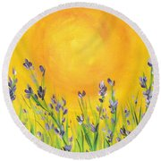 Lavender In The Air Round Beach Towel by Val Miller