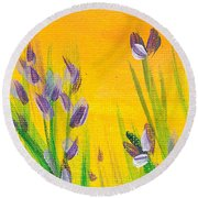Lavender - Hanging Position 1 Round Beach Towel by Val Miller