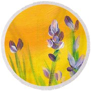 Lavender - Hanging Position 3 Round Beach Towel by Val Miller