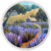 Lavender Path Round Beach Towel