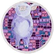 Lavender Piglet Round Beach Towel