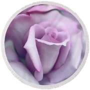 Lavender Rose Flower Portrait Round Beach Towel by Jennie Marie Schell