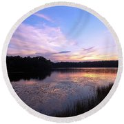 Lavender Sunset Round Beach Towel