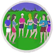 Lawn Party  Round Beach Towel by Fred Jinkins