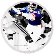 Lawrence Taylor Out Of My Way Round Beach Towel by Brian Reaves