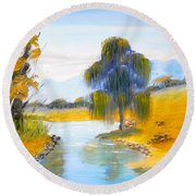 Round Beach Towel featuring the painting Lawson River by Pamela  Meredith