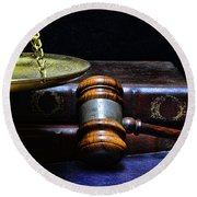 Lawyer - Books Of Justice Round Beach Towel by Paul Ward