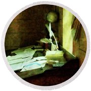 Round Beach Towel featuring the photograph Lawyer - Desk With Quills And Papers by Susan Savad