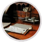 Round Beach Towel featuring the photograph Lawyer - Quill Papers And Pipe by Susan Savad