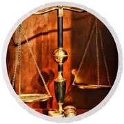 Lawyer - Scales Of Justice Round Beach Towel by Paul Ward