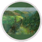 Layers Of Mountain Ranges Colorful Original Landscape Oil Painting Round Beach Towel