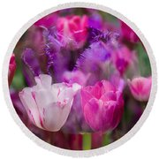 Layers Of Tulips Round Beach Towel
