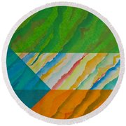 Round Beach Towel featuring the mixed media Layover by Michele Myers