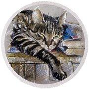 Lazy Cat Portrait - Drawing Round Beach Towel