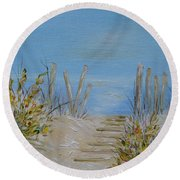 Round Beach Towel featuring the painting Lbi Peace by Judith Rhue