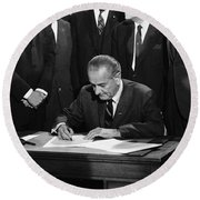 Lbj Signs Civil Rights Bill Round Beach Towel