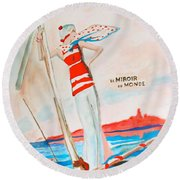 Round Beach Towel featuring the painting Le Miroir Du Monde by Beth Saffer