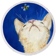 Lea And The Bee Round Beach Towel by Reina Resto