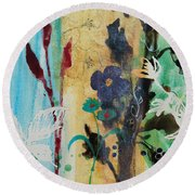 Round Beach Towel featuring the painting Leaf Flower Berry by Robin Maria Pedrero