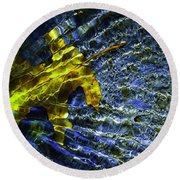 Leaf In Creek - Blue Abstract Round Beach Towel