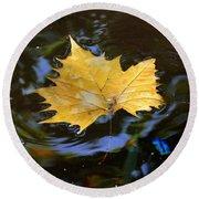 Leaf In Pond Round Beach Towel