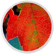 Leaf Pop Round Beach Towel by Kathy Bassett