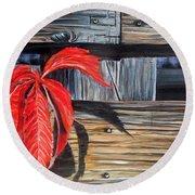 Leaf Shadow 2 Round Beach Towel by Marilyn  McNish