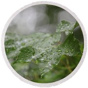 Leafy Raindrops Round Beach Towel