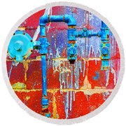 Leaky Faucet Round Beach Towel by Christiane Hellner-OBrien